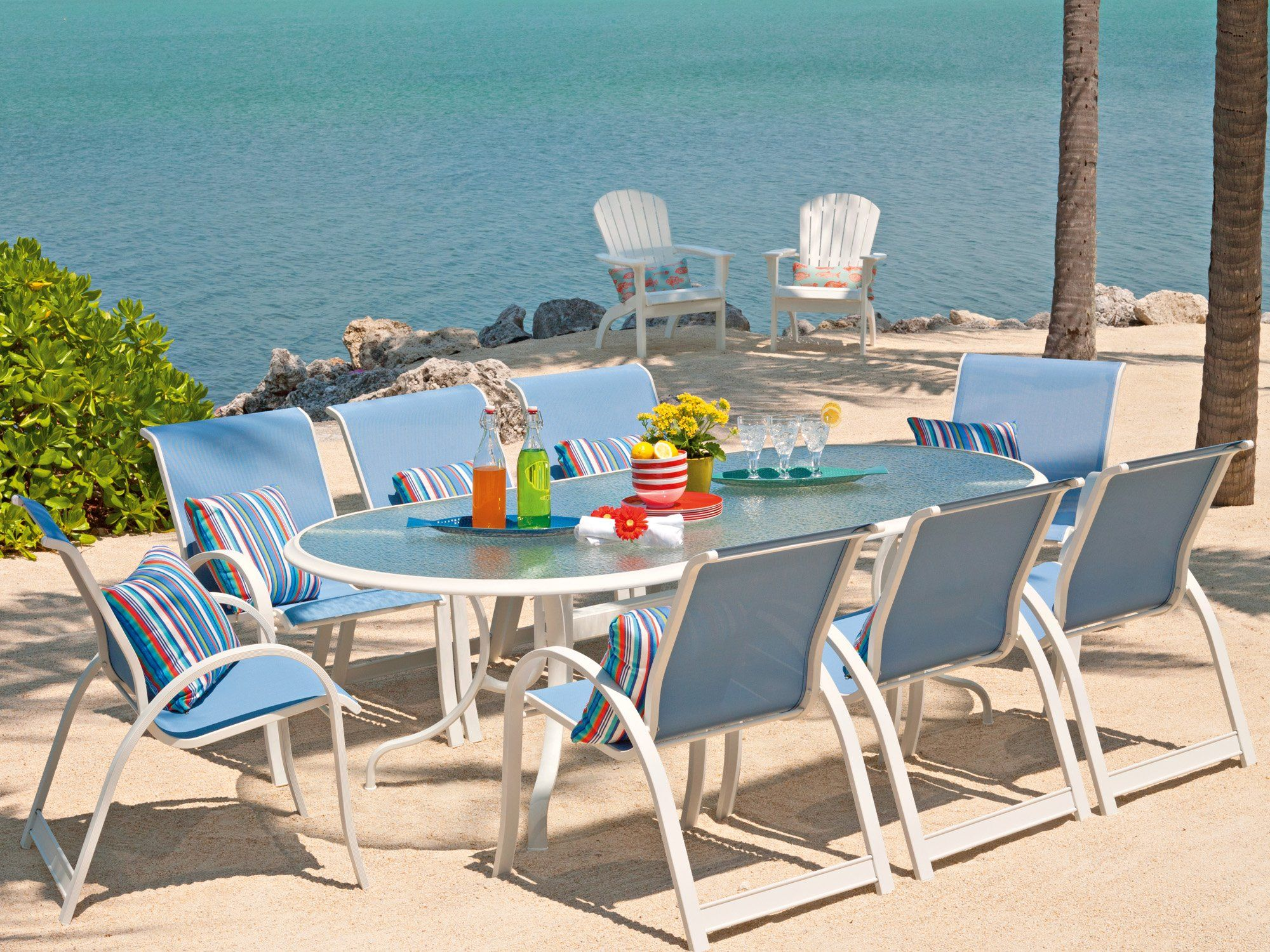Telescope Casual Aruba Il Sling Aluminum Dining Set Outdoor Dining Set Outdoor Furniture Sets Patio