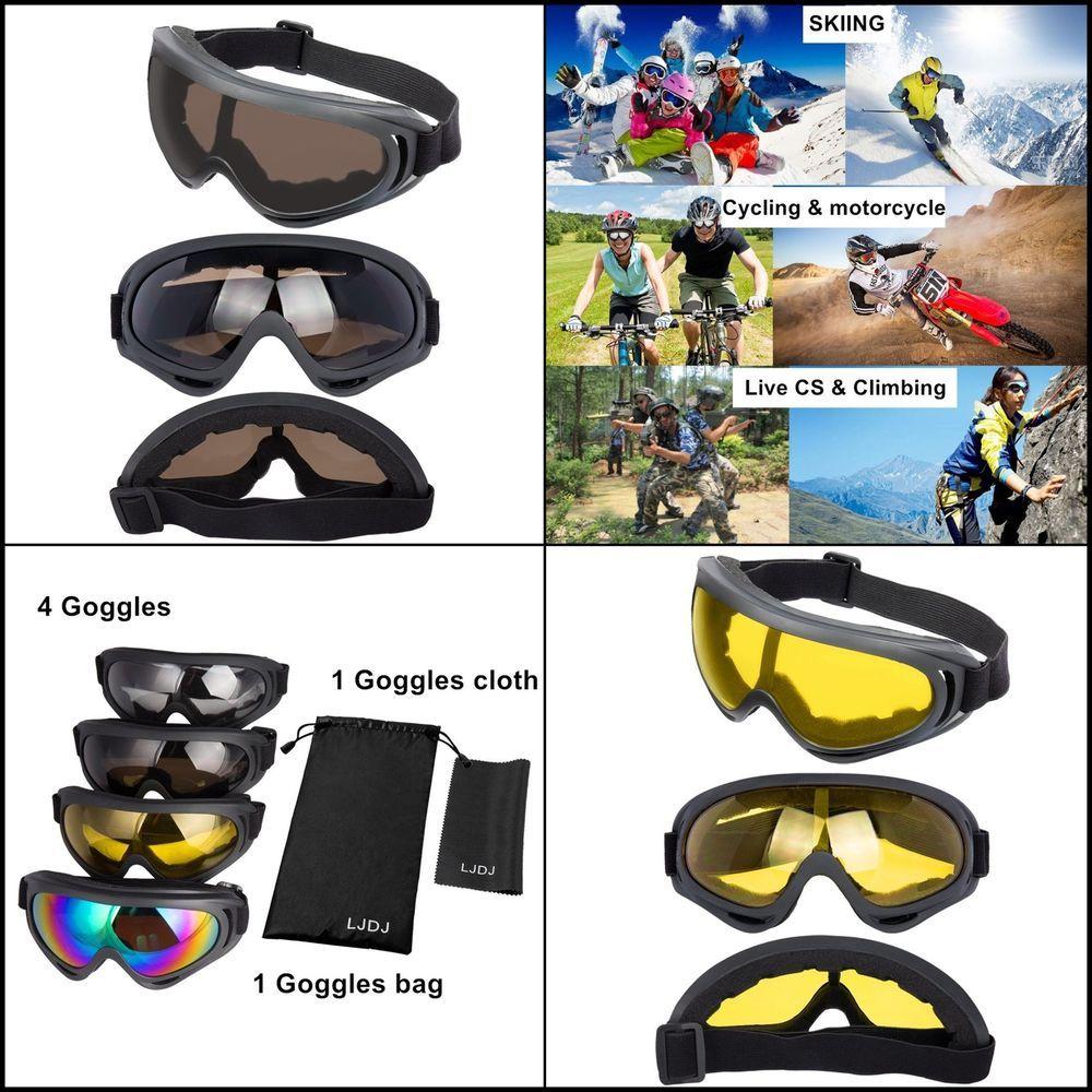 dbbe8f6b577 Ski Goggles 4 Pack Snowboard Adjustable with UV 400 Protective Dust Proof  New  LJDJ