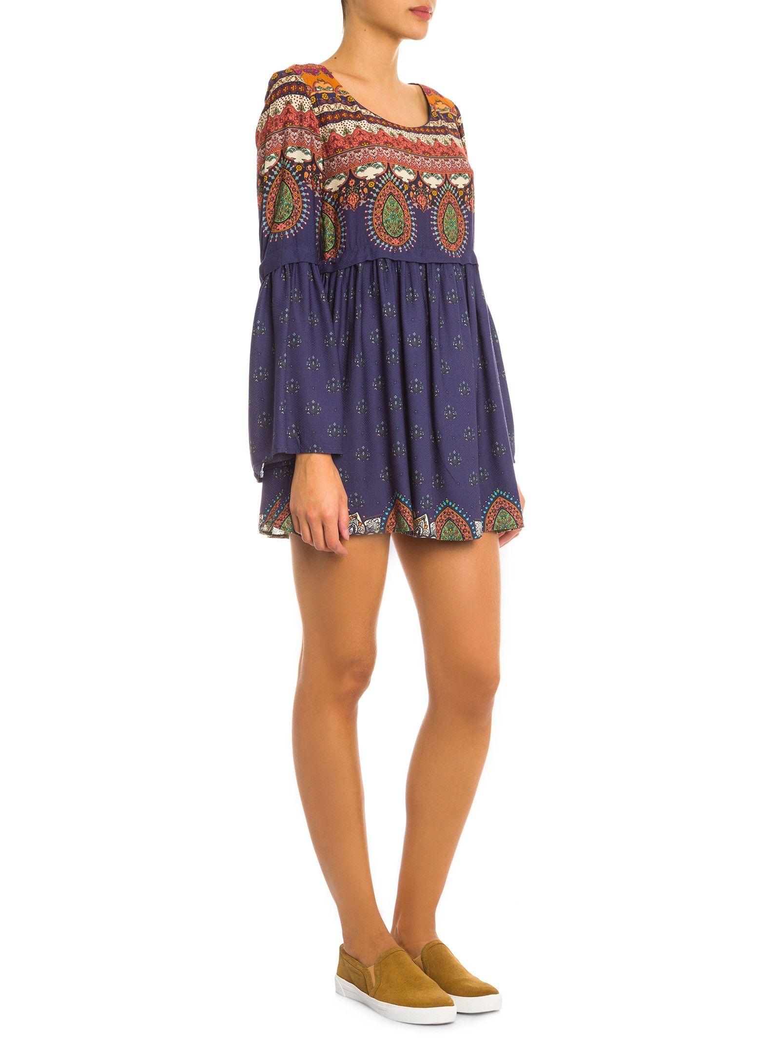 Vestido Curto Etniquita - Farm - Azul - Shop2gether