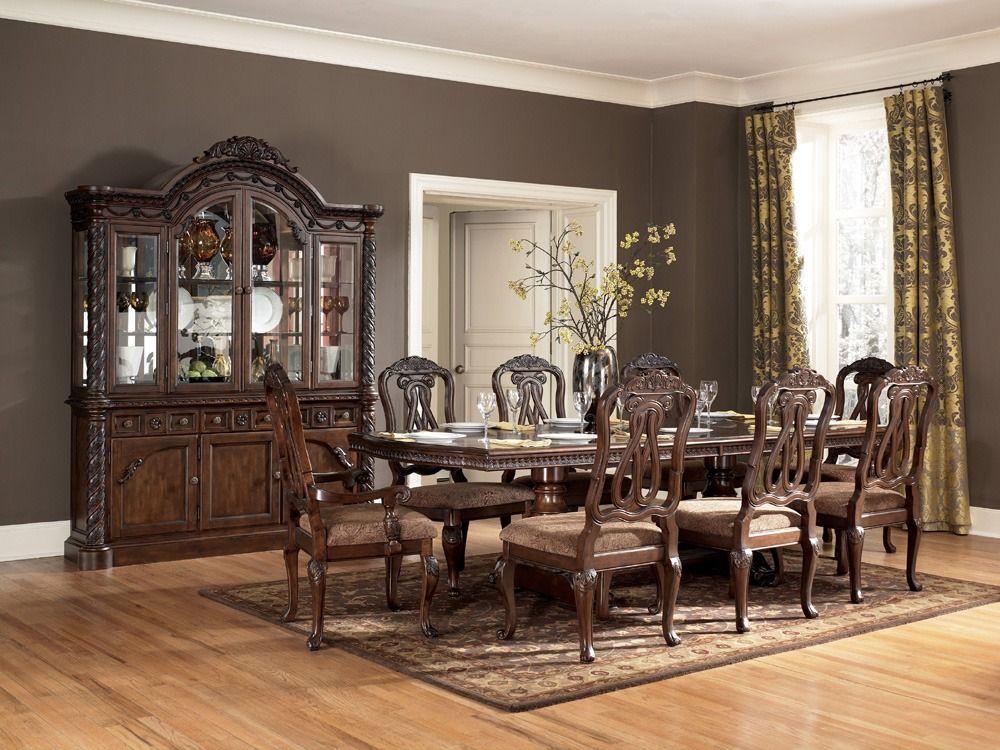North Shore Rectangular Double Pedestal Dining Table Set Ashley