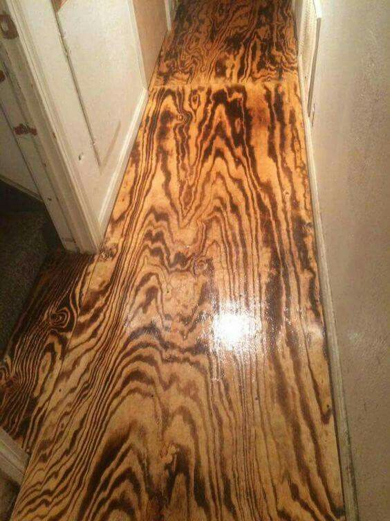 Surface Burnt Plywood Floors With Polyurethane Coat