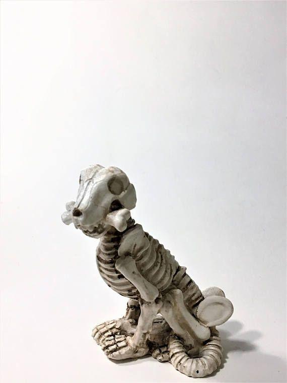 Skeleton Dog Figurine with Bone, Halloween Decoration, Halloween