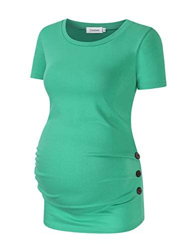 b6c14fd2 Coolmee Maternity Shirt Side Button and Ruched Maternity Tunic Tops  Maternity Short Sleeve T-Shirts