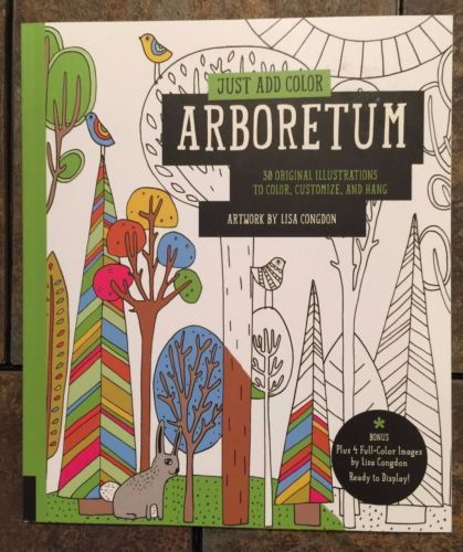 Just Add Color Arboretum Plant Floral Animal Adult Coloring Book BN Grown Up