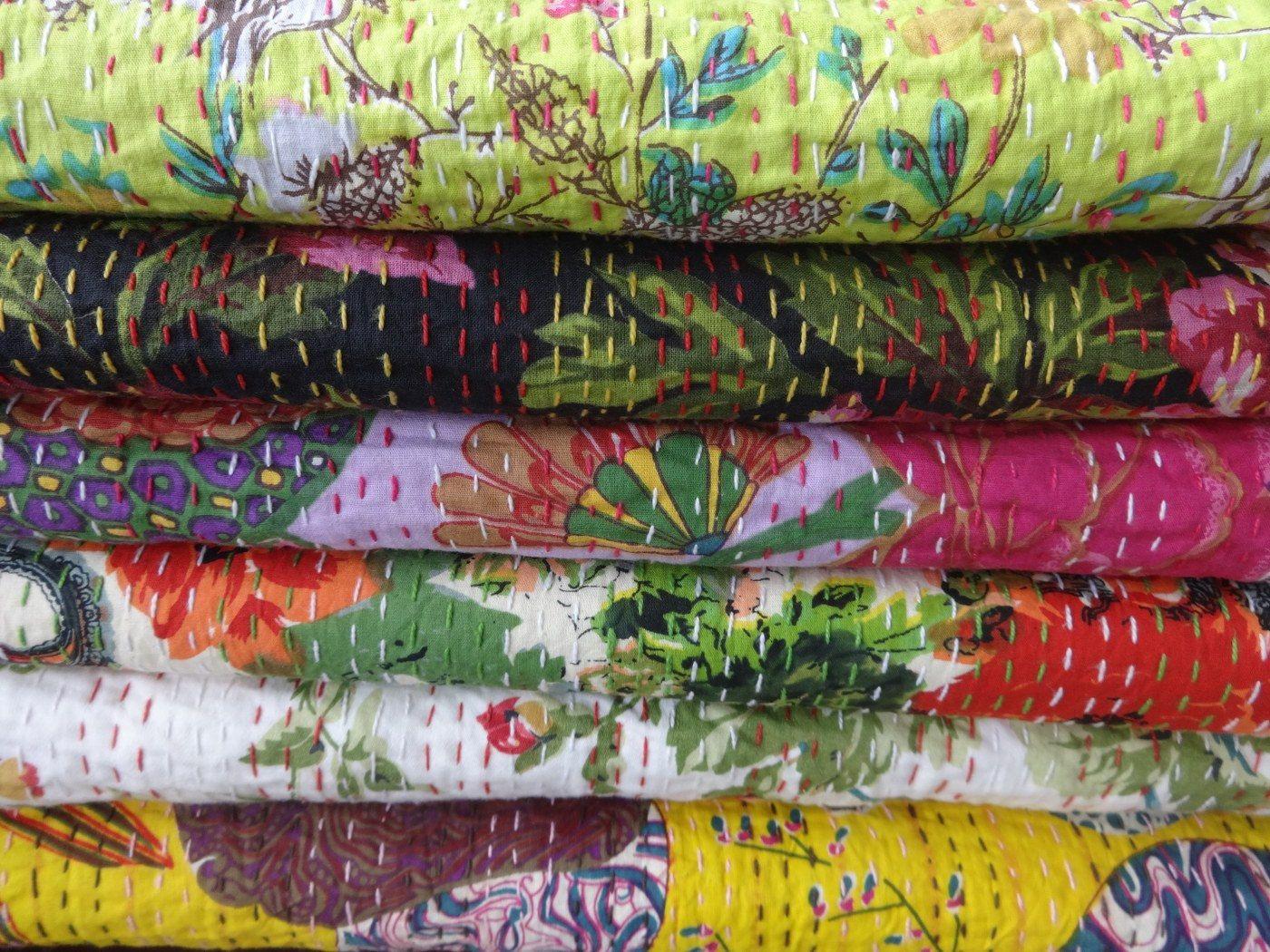 Set of 10 Queen Size Kantha Quilt, Wholesale Floral Print Kantha Bedspread,Handmade Reversible Kantha, Hand Kantha Work, Home Decor, India