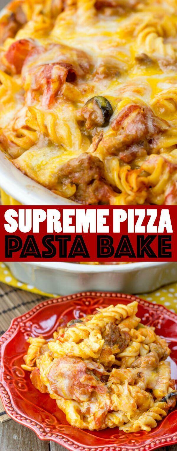 Photo of Supreme Pizza Pasta Bake {An Easy Pasta Alternative to Pizza…