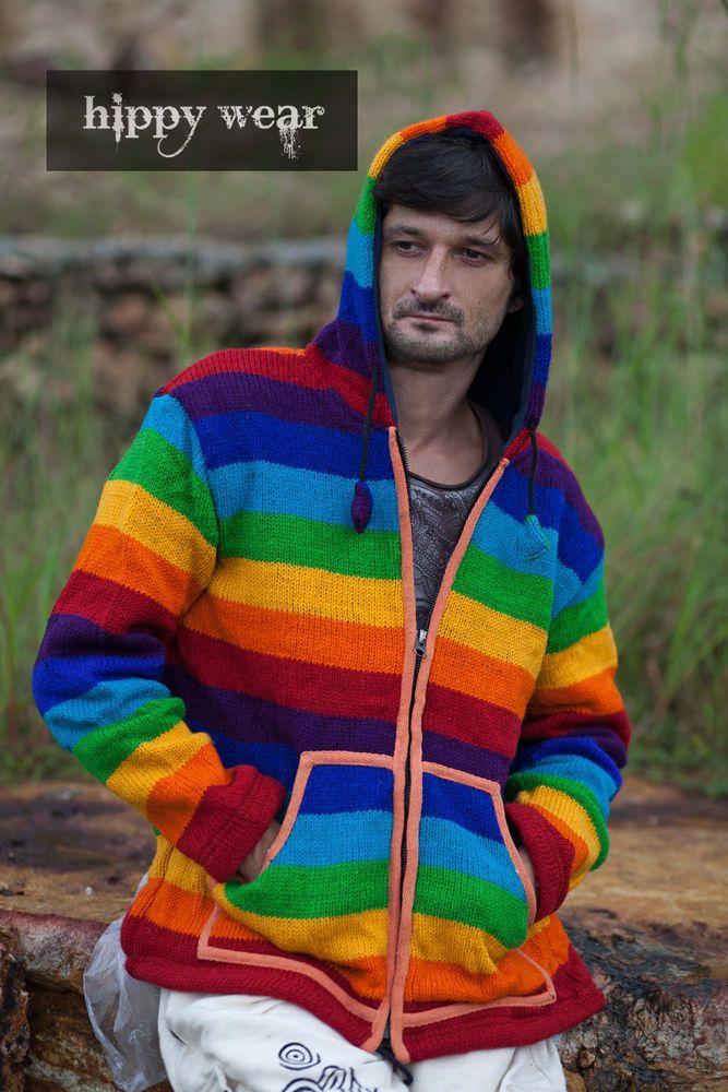Rainbow Stripe Knitted Fleece Hood Sweat Top Hippie Boho Jumper Wool ...