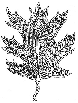 Oak Leaf Autumn Zentangle Coloring Page In 2020 Coloring Pages