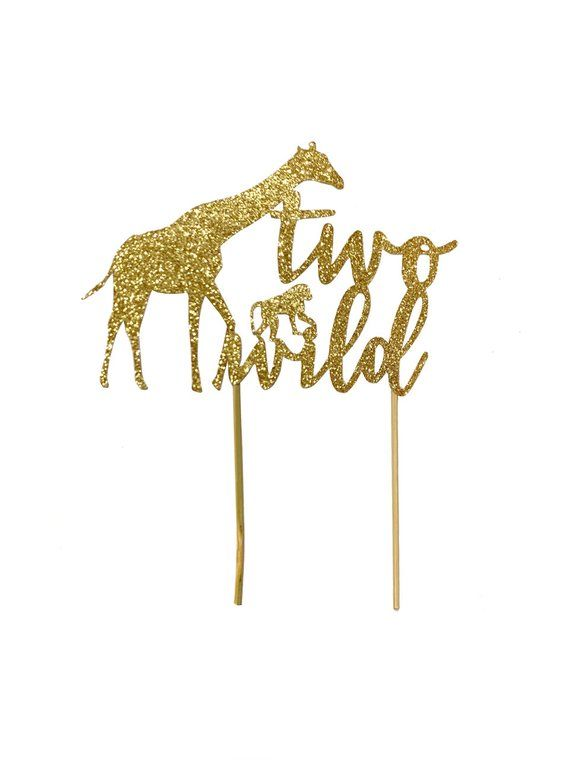 Photo of 1 pc two wild safari jungle giraffe monkey cake topper second birthday toddler boy girl DOUBLE SIDED gold silver black glitter