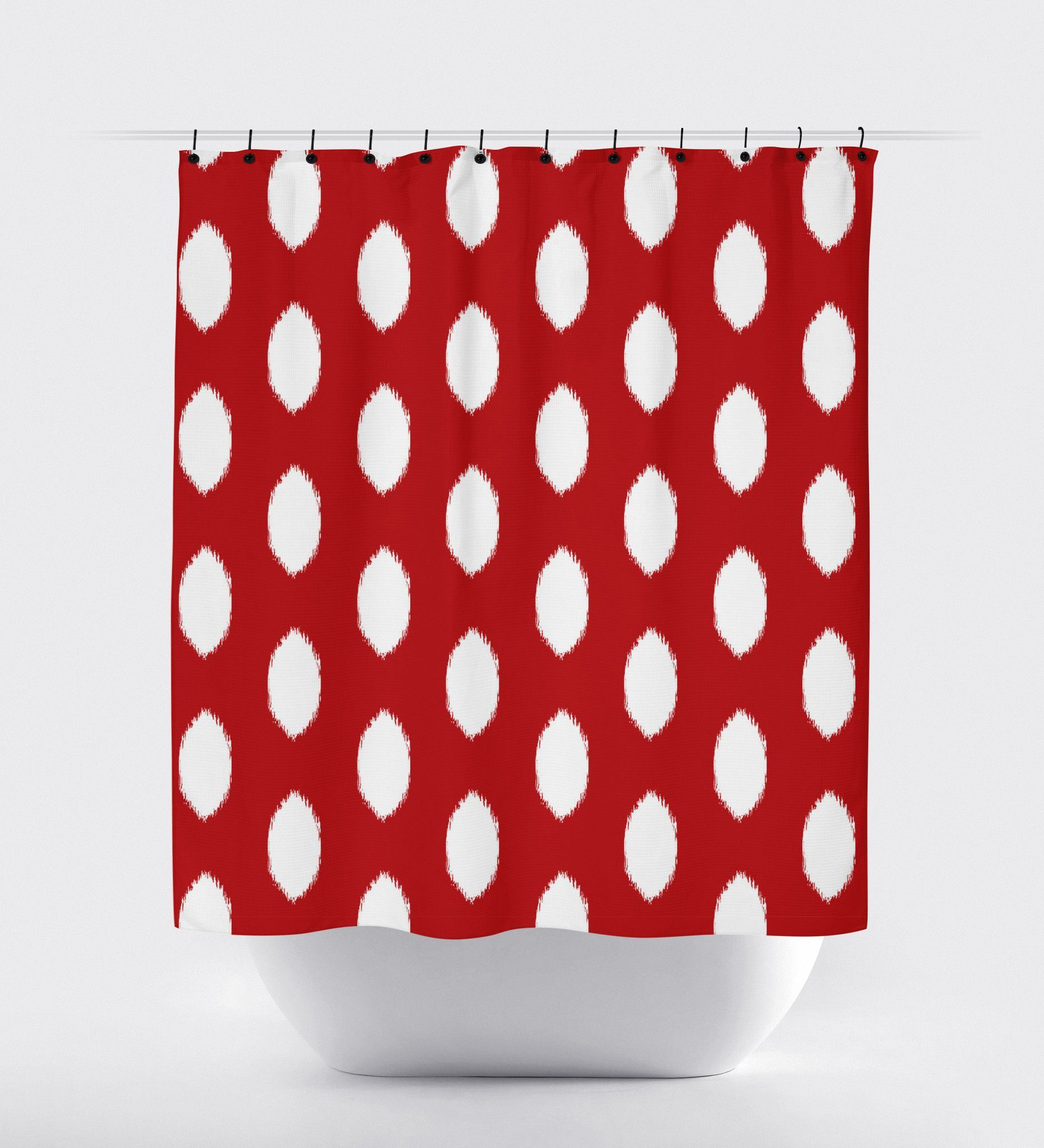 Red Ikat Oval Shower Curtain