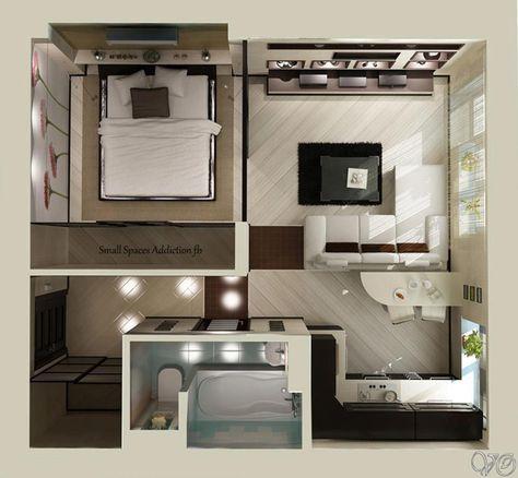 Planos de apartamentos peque os en 3d casa casas for Distribucion apartamentos pequenos