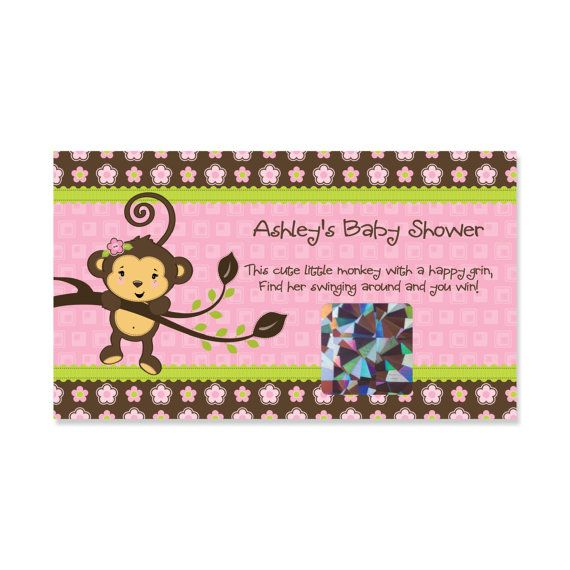 Pink Monkey Girl Baby Shower Scratch Off Game 22 Personalized Baby