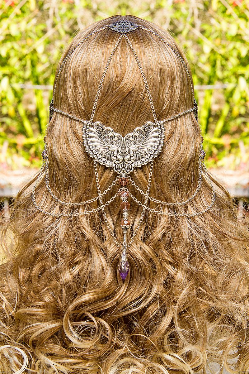 Wings of Isis, stunning silver  pink swarovski crystal hand made filigree bridal circlet. 199.00, via Etsy.