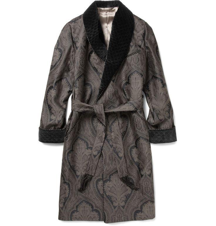Cool Mens Dressing Gown Turnbull & Asser Black Woven Paisley ...