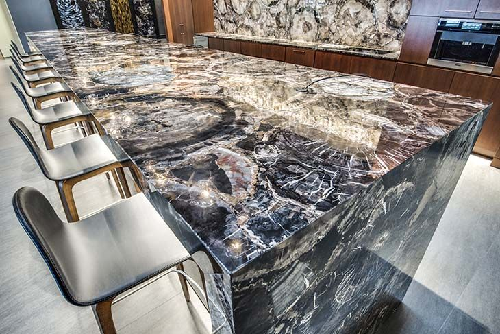 Black Petrified Wood Waterfall Counter The Stone Collection