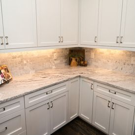 White Cabinets With Lights Underneath Do Not Care For Style Of Handles Or Bac Granite Tile Countertops White Granite Countertops Replacing Kitchen Countertops
