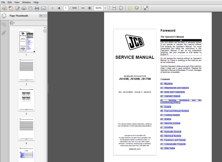 Jcb Js145w Js160w Js175w Js20mh Tier 4 Wheeled Excavator Service Manual Pdf Download Repair Manuals Manual Hydraulic Systems