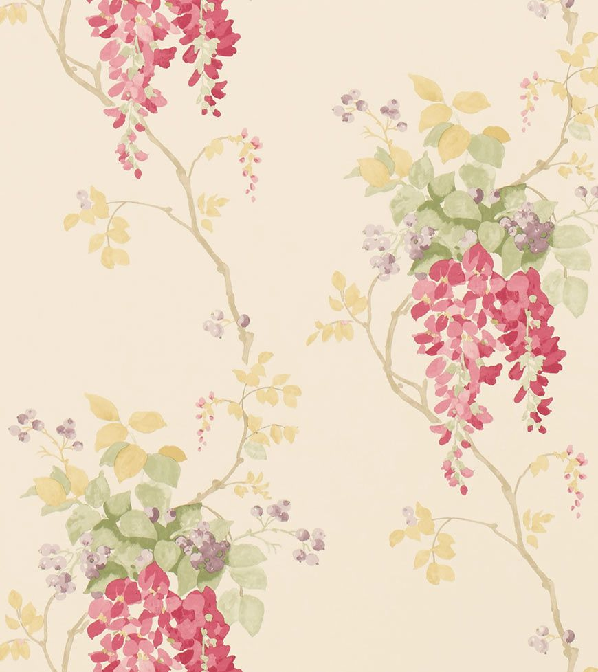 High Quality Wisteria Cranberry From The Laura Ashley Wallpaper Collection.