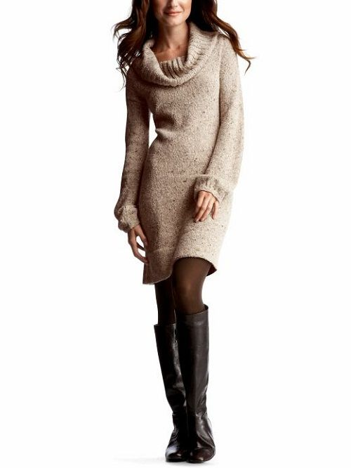 Cowl Neck Sweater Dress with Leggings