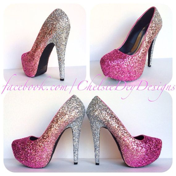 Glitter High Heels - Hot Pink Pumps - Light Pink Silver Ombre ...
