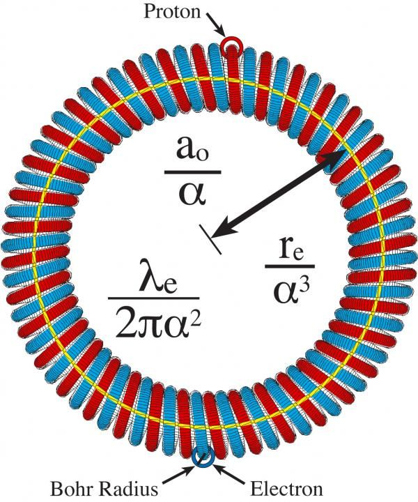 A circlon-shaped particle. In Carter's theory of the universe, all matter and all photons consist of circlon-shaped particles that link together to make up complex structures such as atoms and molecules.