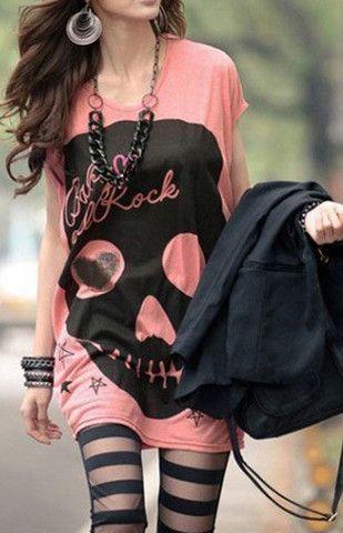 Love DesLove Design Long Skull O-neck Short Sleeve Cotton T-shirt – Trendy Road