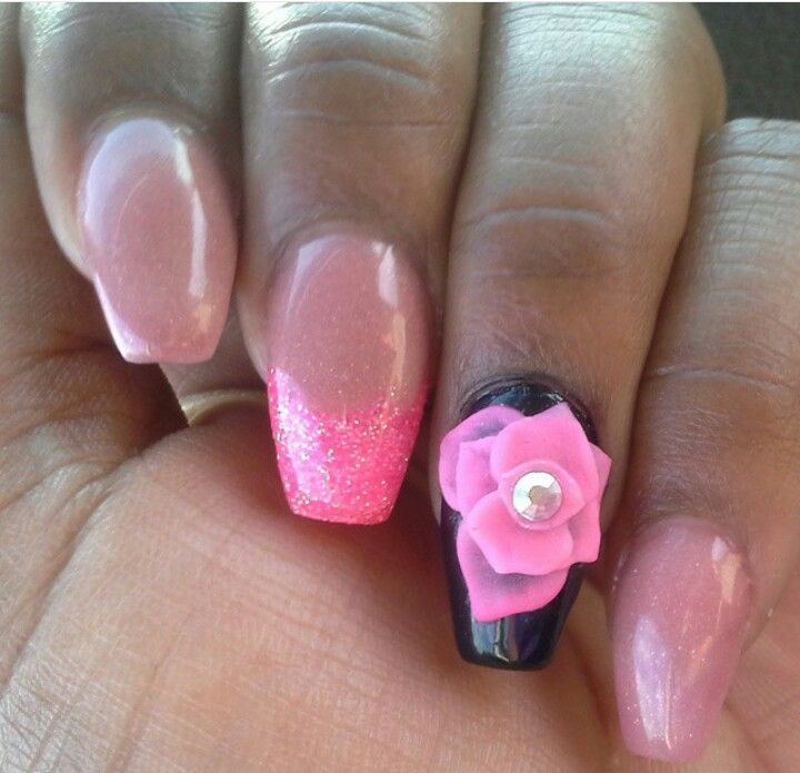 CLOSE UP !! CLEAN CUTICLES Coffin Shape All Acrylic No Polish ...