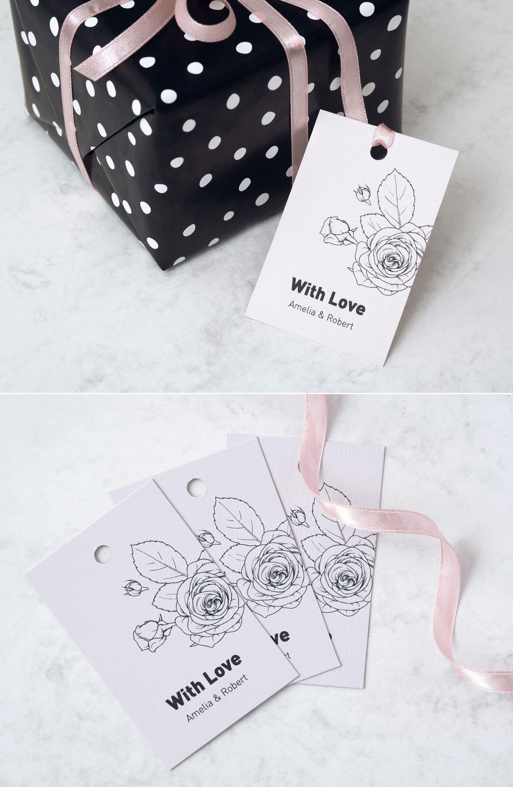 Floral wedding favor tag template rose wedding printable
