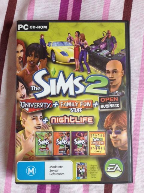 The Sims 2 Expansion Pack University Family Fun Stuff Open For Business Nightlife 4 Games In One 6 Disc PC CD ROM Selling 30 500 To Help