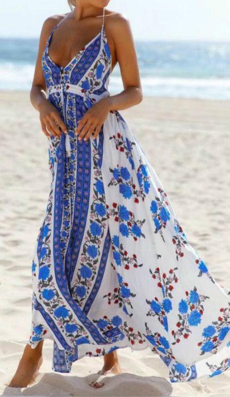53c37acc786 Halter Deep V Neck Sleeveless Backless Floral Printed Split Maxi Dress
