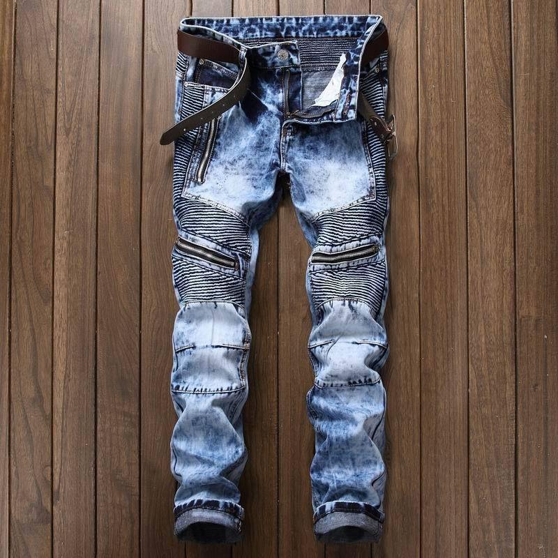 Mens Biker Ripped Pleated Slim Regular-Fit Denim Blue Jeans Pants