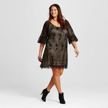 Womens Thick Not Plus Size Lace Peasant Dress Black 3hearts
