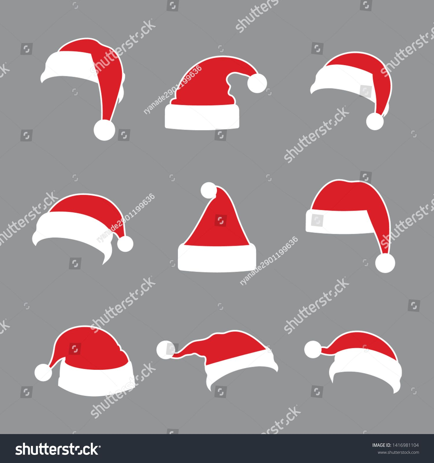 Christmas Santa Claus Hats Collection With White Outline Vector Santa Claus Hat Set Holidays Cap To Santa Claus Hat Santa Hat Illustration Xmas Illustration