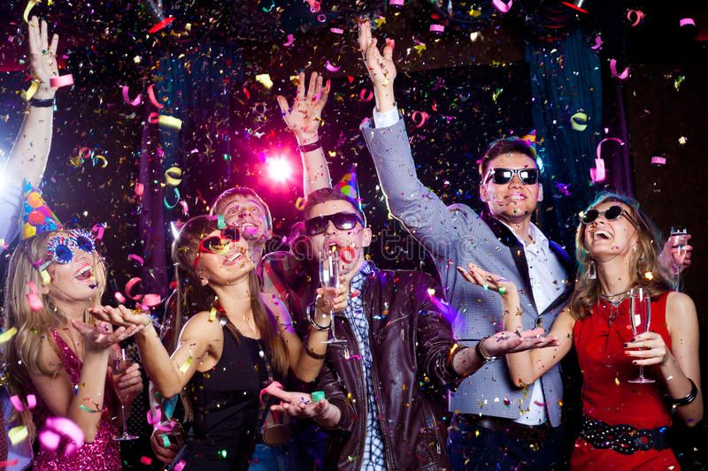 Young Party Cheerful Young People Showered With Confetti On A Club Party Affiliate Cheerful Yo Birthday Surprise Party Newyear New Year S Eve Countdown
