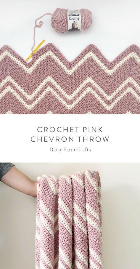 Free Pattern - Crochet Pink Chevron Throw #crochet   Crotchet ...