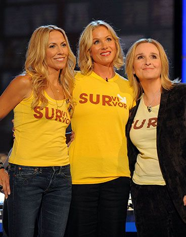 Sheryl Crow, Christina Applegate, Melissa Etheridge Crow, Applegate and Etheridge are all breast cancer survivors, and all three have done their share when it comes to increasing breast cancer awareness and stressing the importance of regular breast cancer screenings. Musicians Crow and Etheridge have also donated proceeds from their singles to various breast cancer charities.