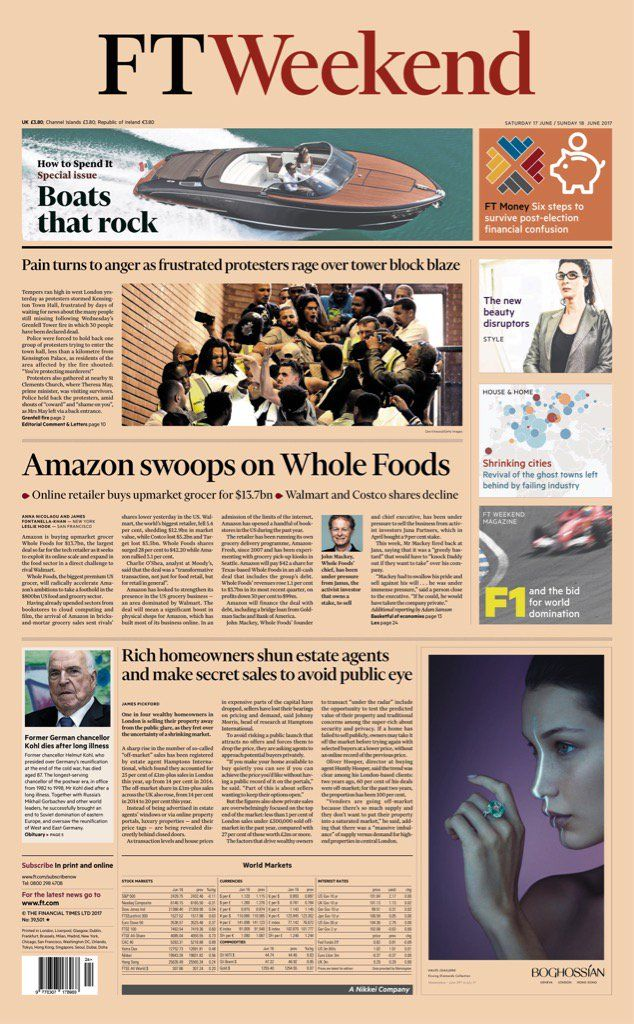 "RT @AllieHBNews: Weekend FT: ""Amazon swoops on Whole Foods"" #bbcpapers #tomorrowspaperstoday https://t.co/G1L43uPGQN"