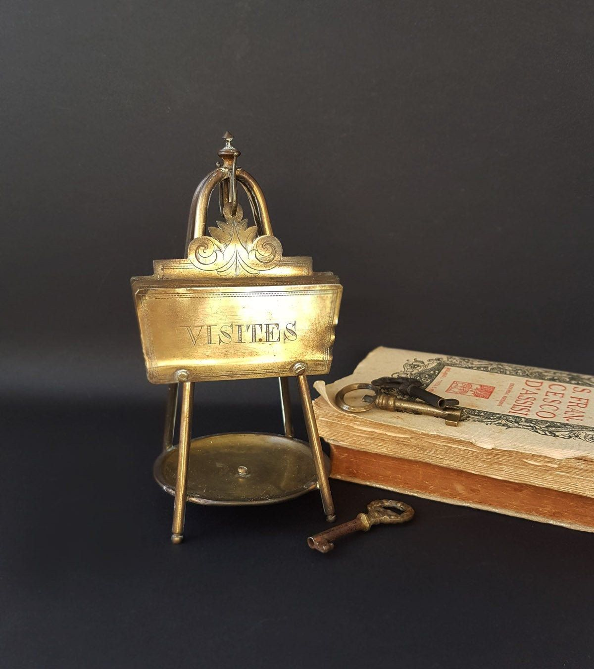 Antique french desk top pocket watch stand and business