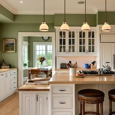 Kitchen Paint Colors 10 Handsome Hues For Hardworking Es Moss Green Walls White Cabinetry Butcher Block Counters