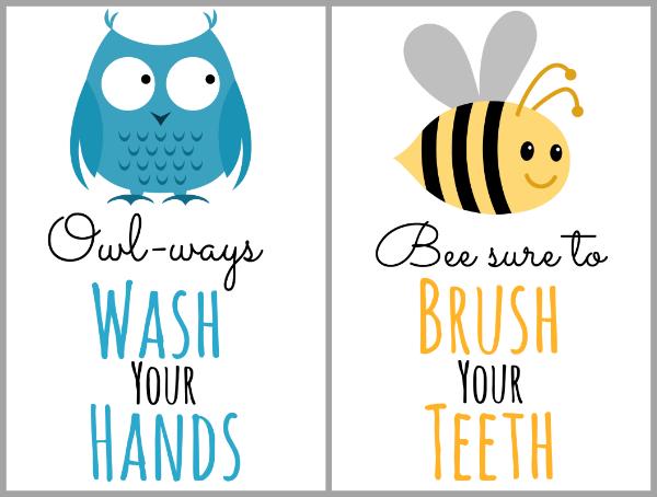 free printable bathroom art for kids and organizing tips too - Free Printable Bathroom Art