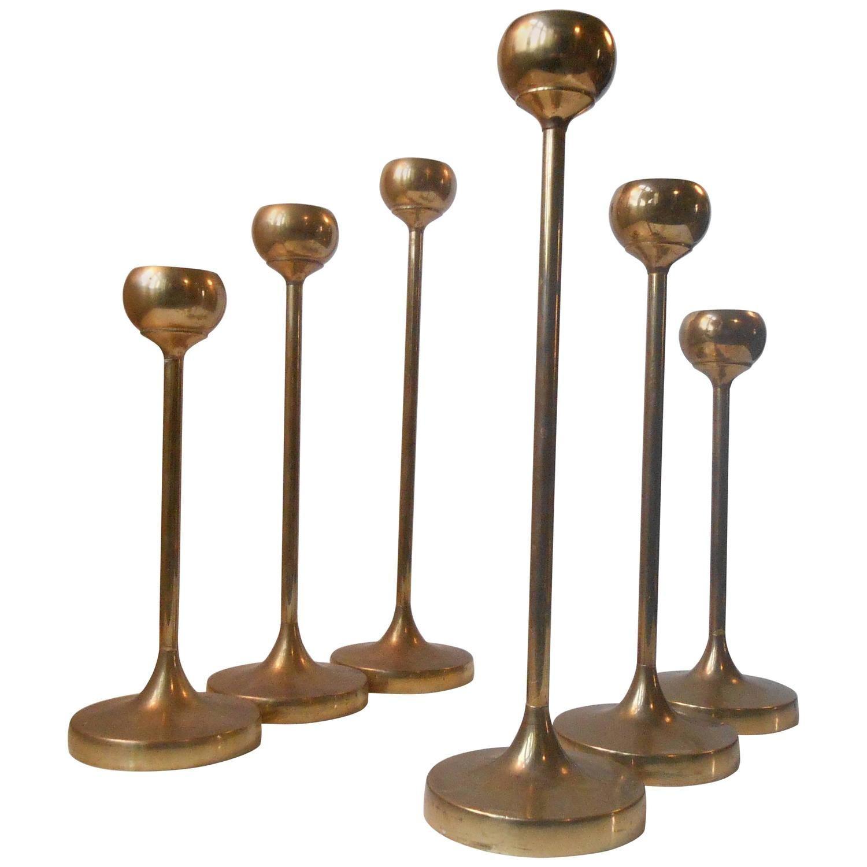 Six Brass Candlesticks Ala Pierre Forssell Mid Century Scandinavian Modern Https Www 1stdibs Com Candlesticks Brass Candlesticks Mid Century Scandinavian