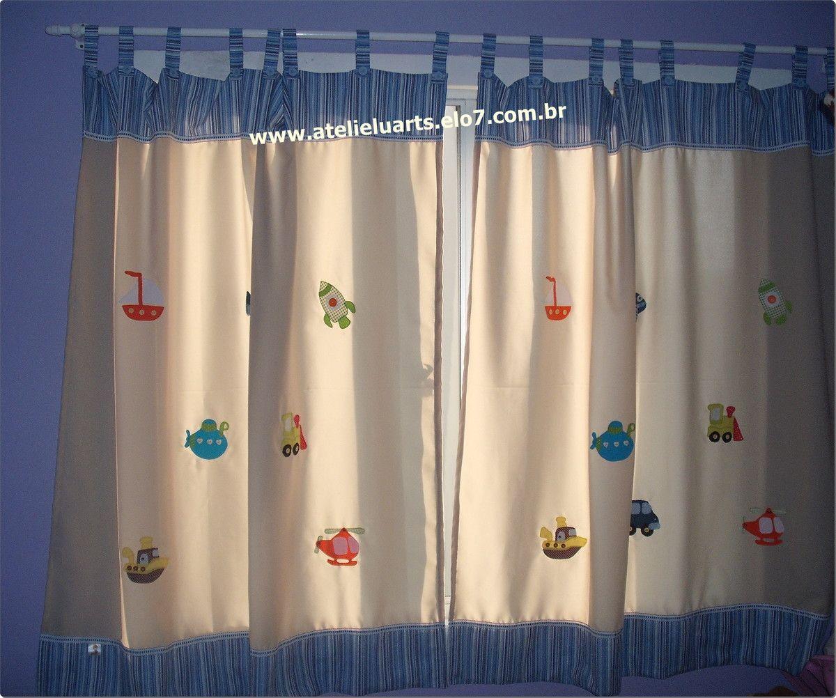 Cortina para quarto infantil tecido de algod o patch - Apliques para cortinas ...