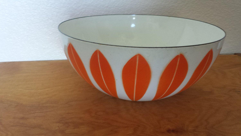 Vintage Catherineholm Enamelware Lotus Pattern Orange on White Large Serving Bowl by ThatOneThing on Etsy