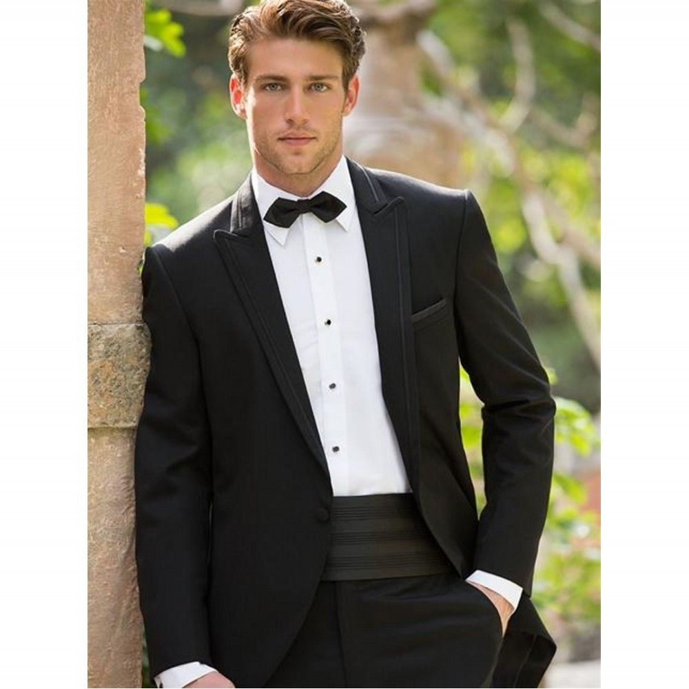 Free Shipping Black Two Piece Suit Bow Tie Male Suits Men Wedding Groomsman Tuxedos