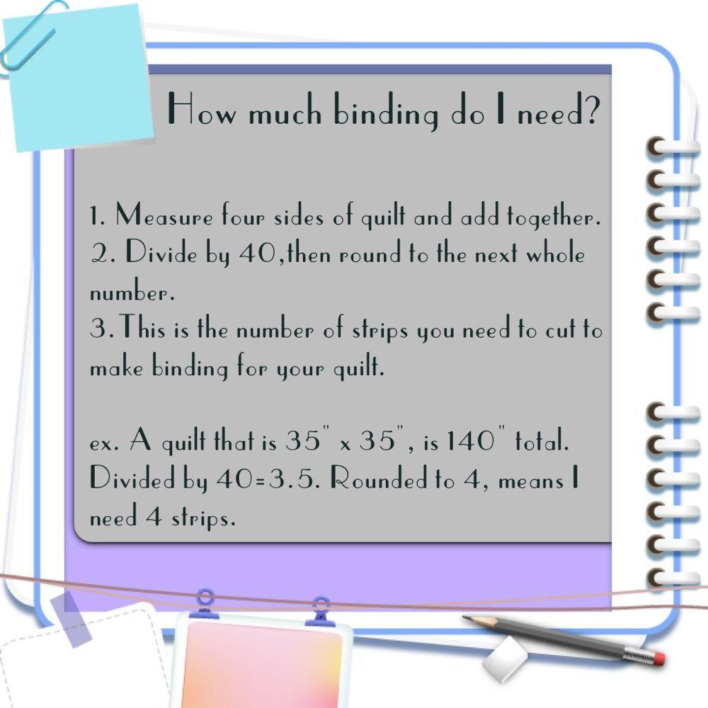 Binding Formula Chart Www.quiltfabriccloseouts.com