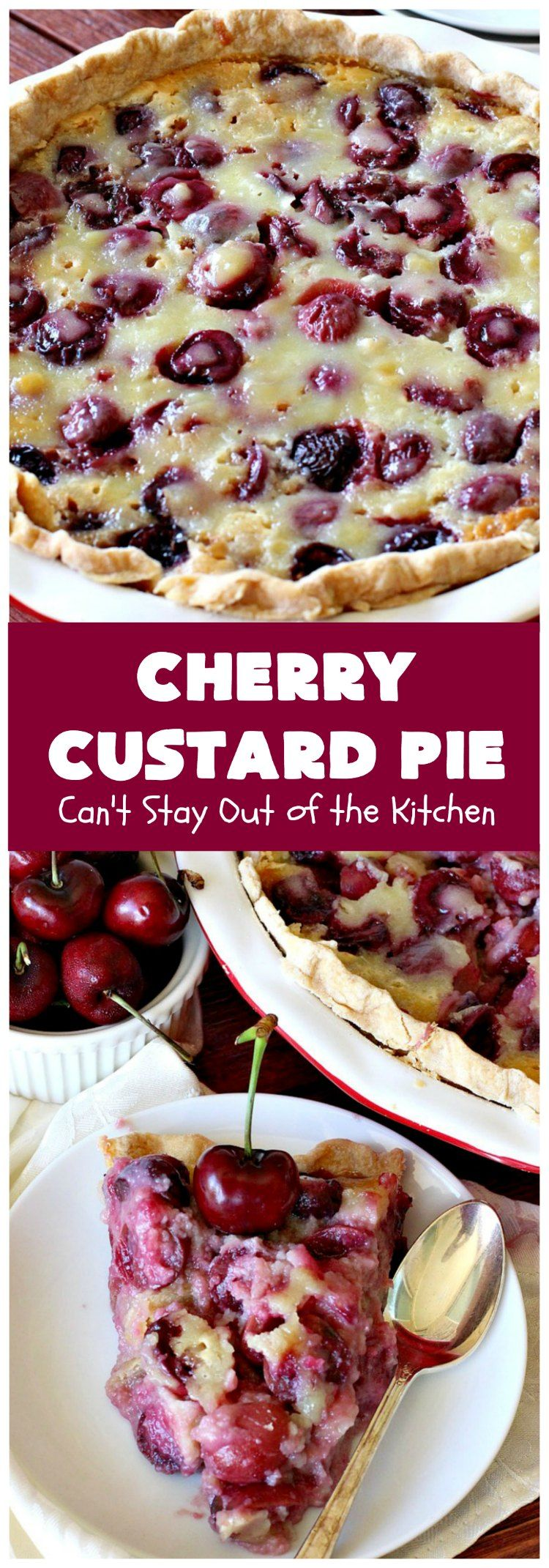 Cherry Custard Pie is part of Desserts - Enjoy this irresistible Cherry Custard Pie as an alternative to traditional Cherry Pie this summer  It's rich, decadent and utterly delicious  This mouthwatering dessert is marvelous to make in the summer when fresh cherries are in season  It will rock your world!