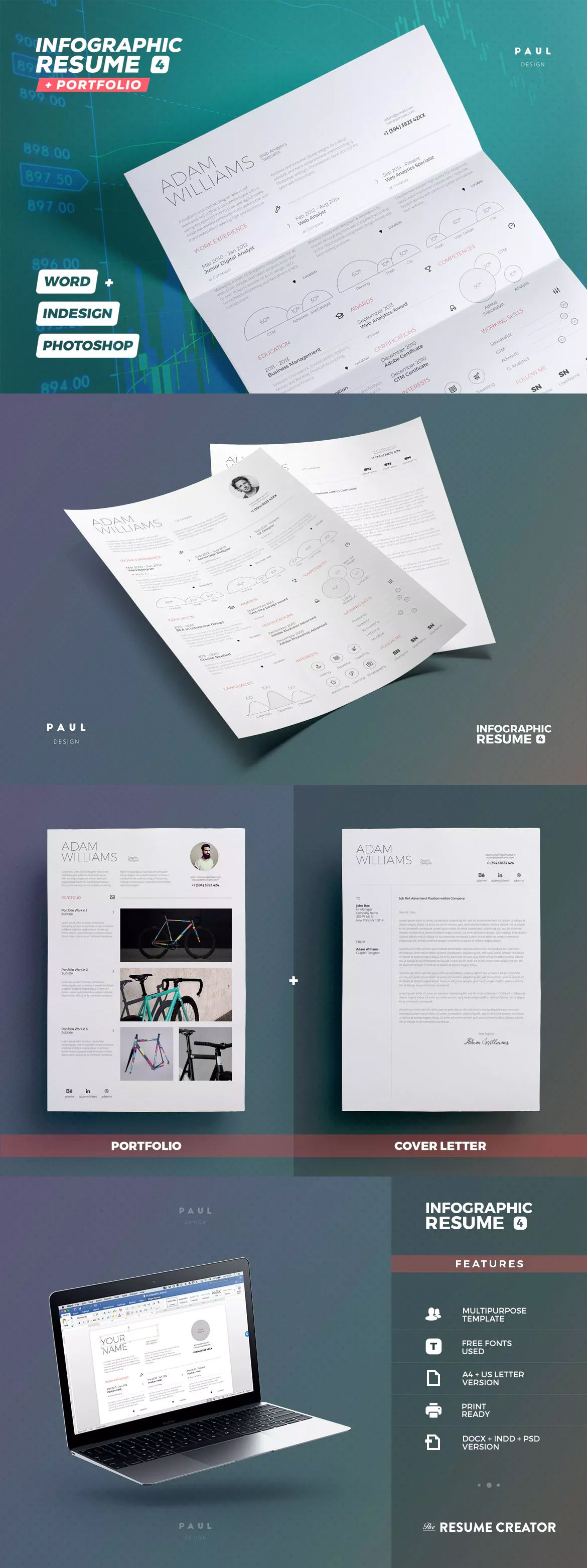 Infographic Resume/Cv Template INDD, PSD | Infographics Elements ...