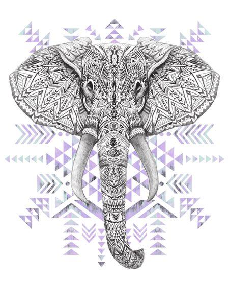 Color Background Aztec Elephant Graphic Art Hand Drawing Aztec Art Elephant Art Hipster Drawings