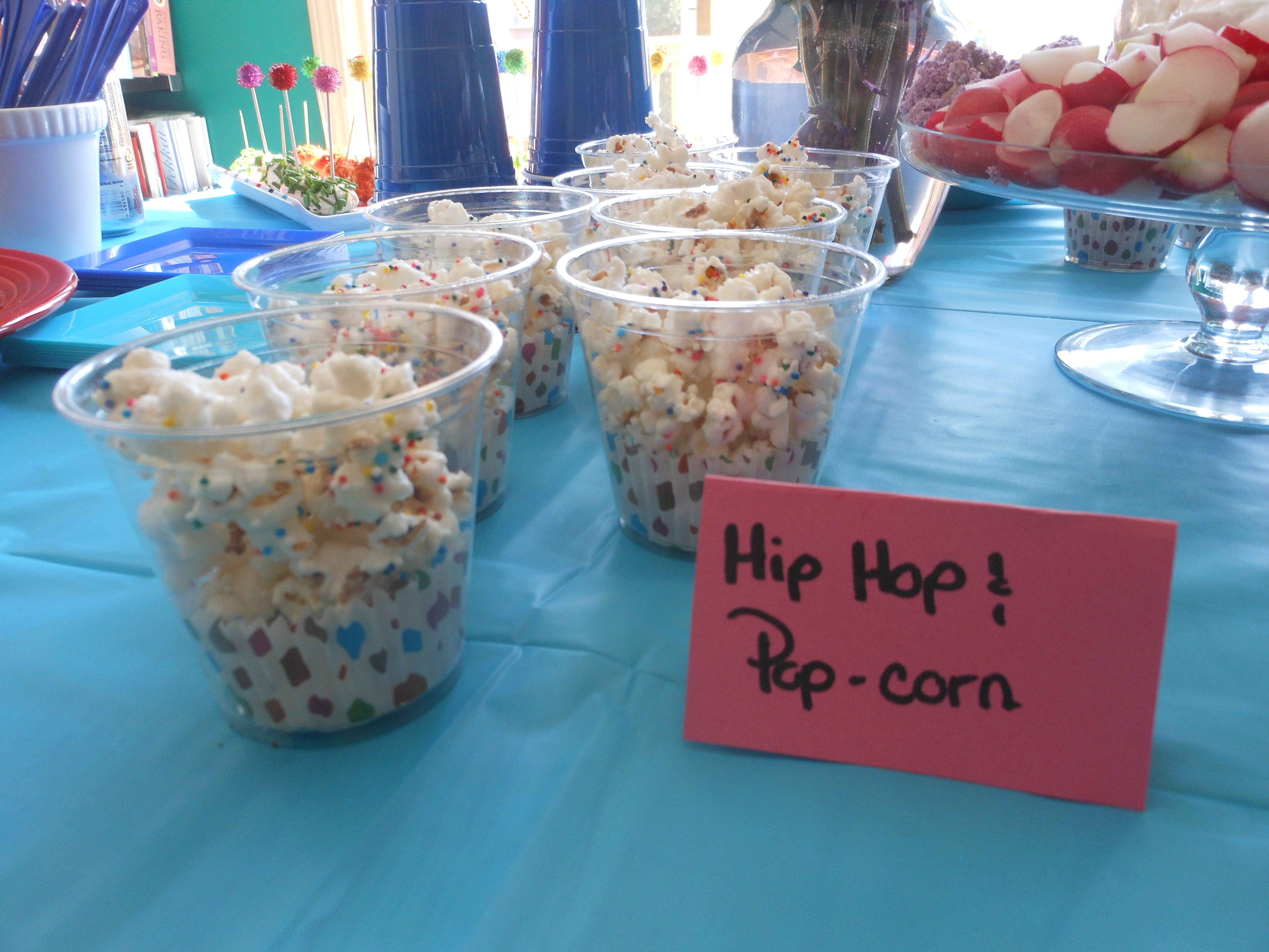 Hip Hop and Popcorn. Air popped pop corn with melted