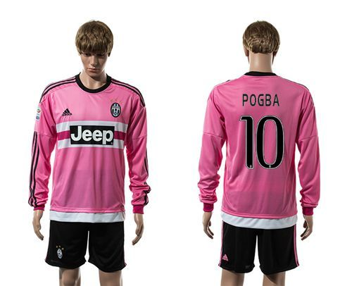 00ac4eef4f6 Juventus  10 Pogba Pink Long Sleeves Soccer Club Jersey